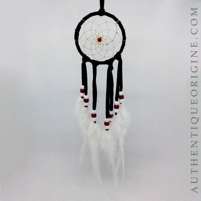 Dreamcatcher 3 '' black feathers of white cock # au0122-19