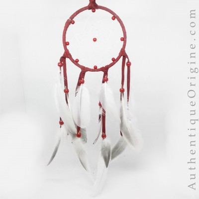 Red Dreamcatcher and Snow Goose Feathers # au0173-04