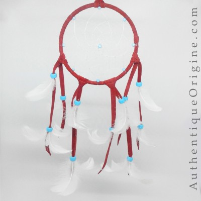 Red Dream Catcher and White Snow Goose Feathers # au0173-08