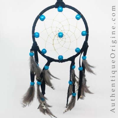 Black Dreamcatcher and Ruffed Grouse Feathers # au0173-09
