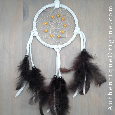 Dreamcatcher 4 '' blue powder and chocolate feathers # au0173-010