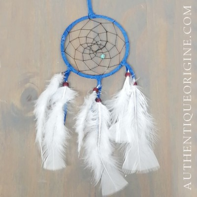 4 inch blue dream catcher, black fabric and red wine beads