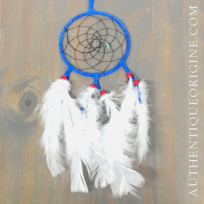 4 inch blue dream catcher, black fabric and red beads