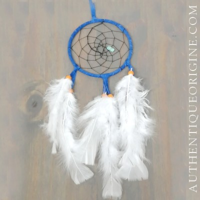 4 inch blue dream catcher, black fabric and orang beads