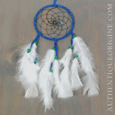 4 inch blue dream catcher, black fabric and green beads