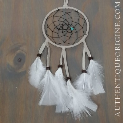 4 inch gray dreamcatcher, black weave and brown beads