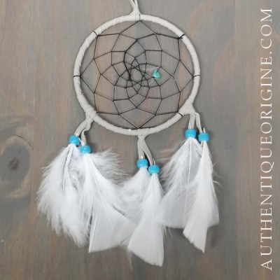 4 inch gray dreamcatcher, black weave and bleu beads