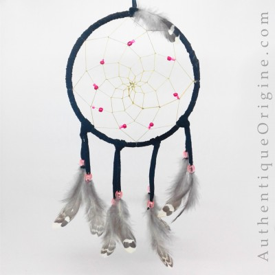 Dreamcatcher black and pink ruffed grouse feathers # au0234-021