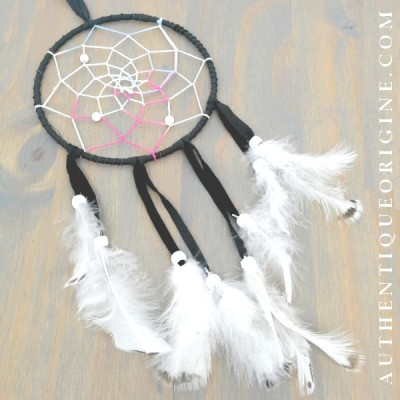 Dreamcatcher brown pearls green ruffed grouse feather # au0234-09