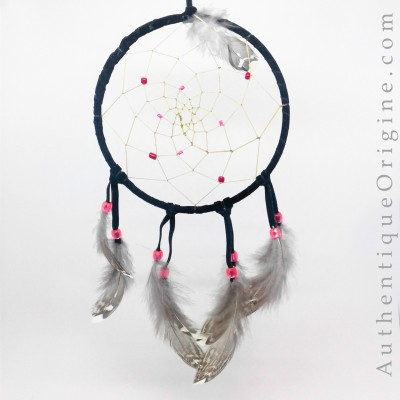 Black and pink dreamcatcher ruffed grouse feathers # au0234-024