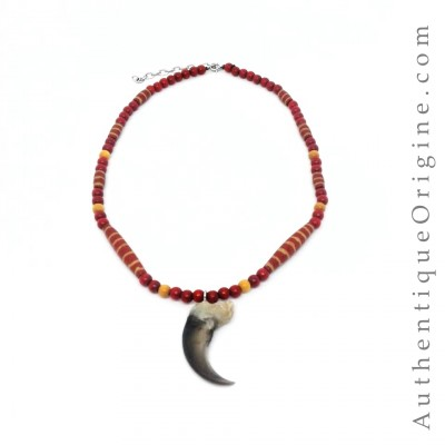 Collier Griffe d'ours perles rouge