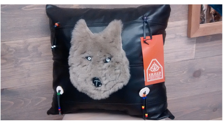 Cushion in black leather