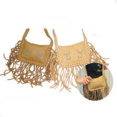 Beige leather bag with fringes